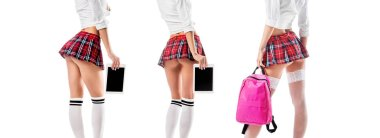 collage of partial view of sexy woman in school uniform with pink backpack and tablet with blank screen isolated on white