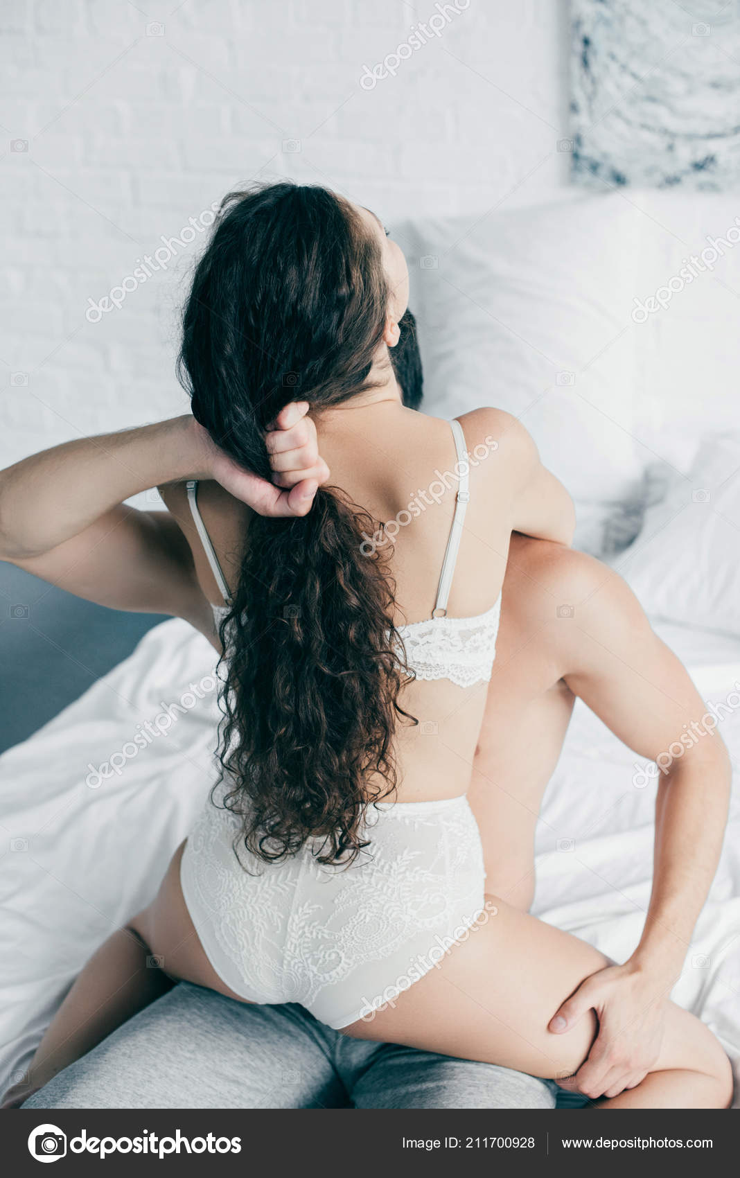 Passionate Young Couple Underwear Foreplay Bed Stock Photo