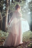 attractive mystic girl in elegant dress posing in forest with sun flare