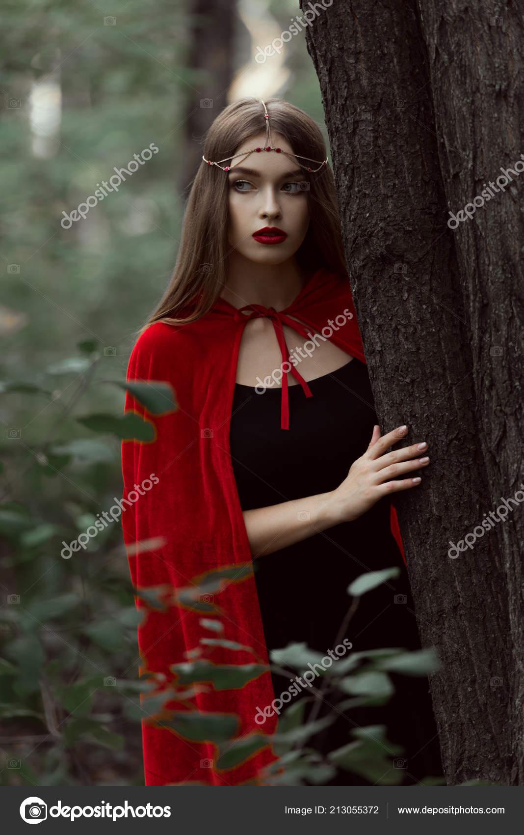 Kranz Elegante Mädchen Und Mantel Mystische Schöne Roten E9DH2I