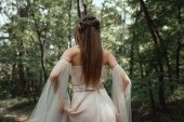 Hátulnézet a misztikus elf erdő elegáns ruha