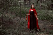 Photo beautiful mystic girl in black dress and red cloak holding violin in forest