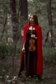 elegáns gyönyörű nő fekete ruha és piros köpenyt gazdaság hegedű-erdő