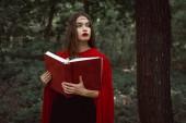 elegáns misztikus lány piros köpenyt a mágia könyv erdő