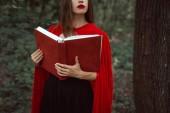 oříznutý pohled dívky v červený plášť, který drží kouzelnou knihu v lese