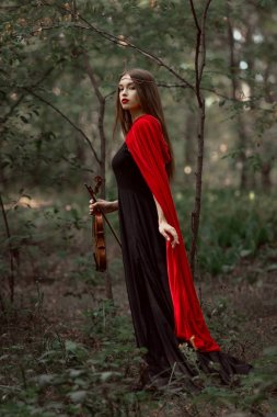 attractive mystic woman in black dress and red cloak holding violin in forest
