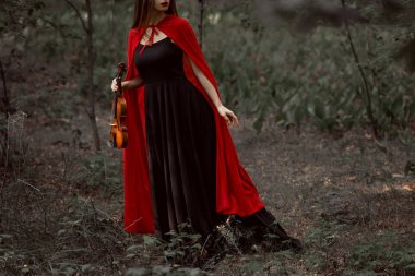 cropped view of elegant mystic woman in black dress and red cloak holding violin in forest