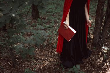 cropped view of elegant girl in red cloak with magic book in forest