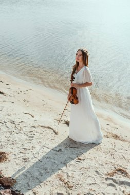 pretty girl in elegant dress holding violin on beach