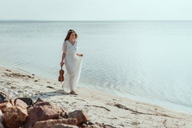 attractive young woman in elegant dress with violin walking on beach near sea