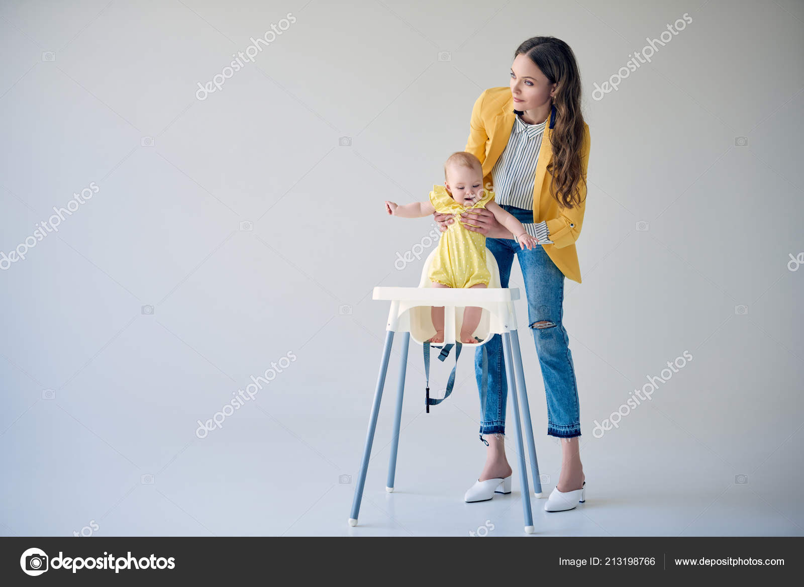 Miraculous Beautiful Stylish Mother Putting Baby Girl High Chair Grey Short Links Chair Design For Home Short Linksinfo