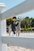 Fotografie view through fence of handsome male equestrian standing near horse at horse club