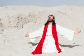 Fotografie laughing Jesus in robe, red sash and crown of thorns standing on knees with open arms in desert