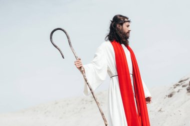 side view of Jesus in robe, red sash and crown of thorns standing with wooden staff in desert
