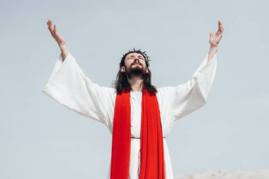 Jesus in robe, red sash and crown of thorns standing with raised hands and praying in desert stock vector