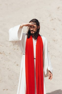 Jesus in robe, red sash and crown of thorns looking away in desert