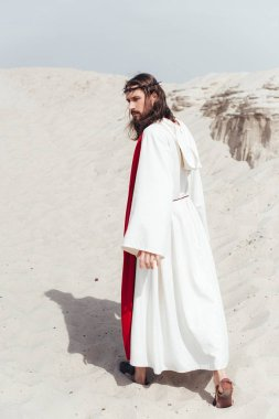 Back view of Jesus in robe, red sash and crown of thorns walking in desert stock vector