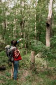 Fotografie couple of young travelers with backpacks hiking in woods