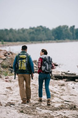 rear view of hikers with backpacks walking on sandy beach together