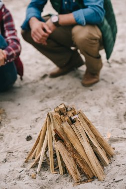 Couple making campfire on sandy beach stock vector
