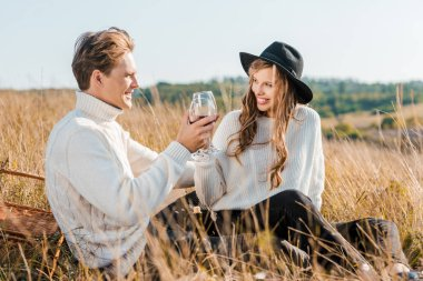 Young couple clinking with glasses of red wine and looking at each other during picnic on meadow stock vector