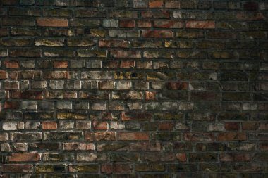 Old rough weathered brick wall background, full frame view stock vector