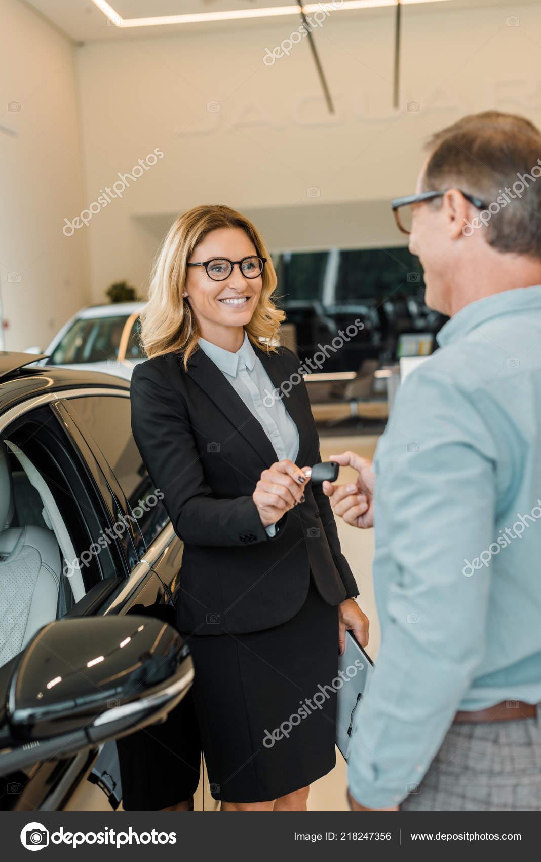 Key Car Dealership >> Adult Man Taking Car Key Female Car Dealer Showroom Stock