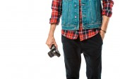 Fotografie cropped image of hipster male photographer in denim vest and checkered shirt holding camera isolated on white