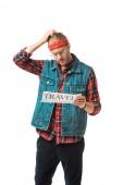 Stylový bederní muž v džínové vestě čtenářský deník cestování izolované na bílém