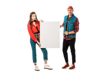Young male hipster pointing at empty banner while his girlfriend standing near isolated on white stock vector