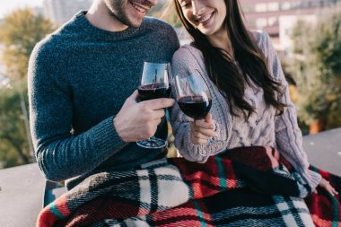 cropped shot of beautiful young couple covering in plaid and drinking red wine on rooftop
