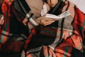 Fotografie oříznutý snímek mladý pár čtení knihy společně na gauči pod plaid doma