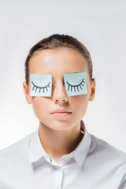 Young woman with sticky notes on eyes and drawn eyelashes stock vector