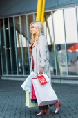 Fotografie happy beautiful shopper with shopping bags and sale sign