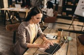 Fotografie zdůrazňuje obchodní žena sedí u stolu s notebookem a práci v kanceláři podkroví s kolegy na pozadí