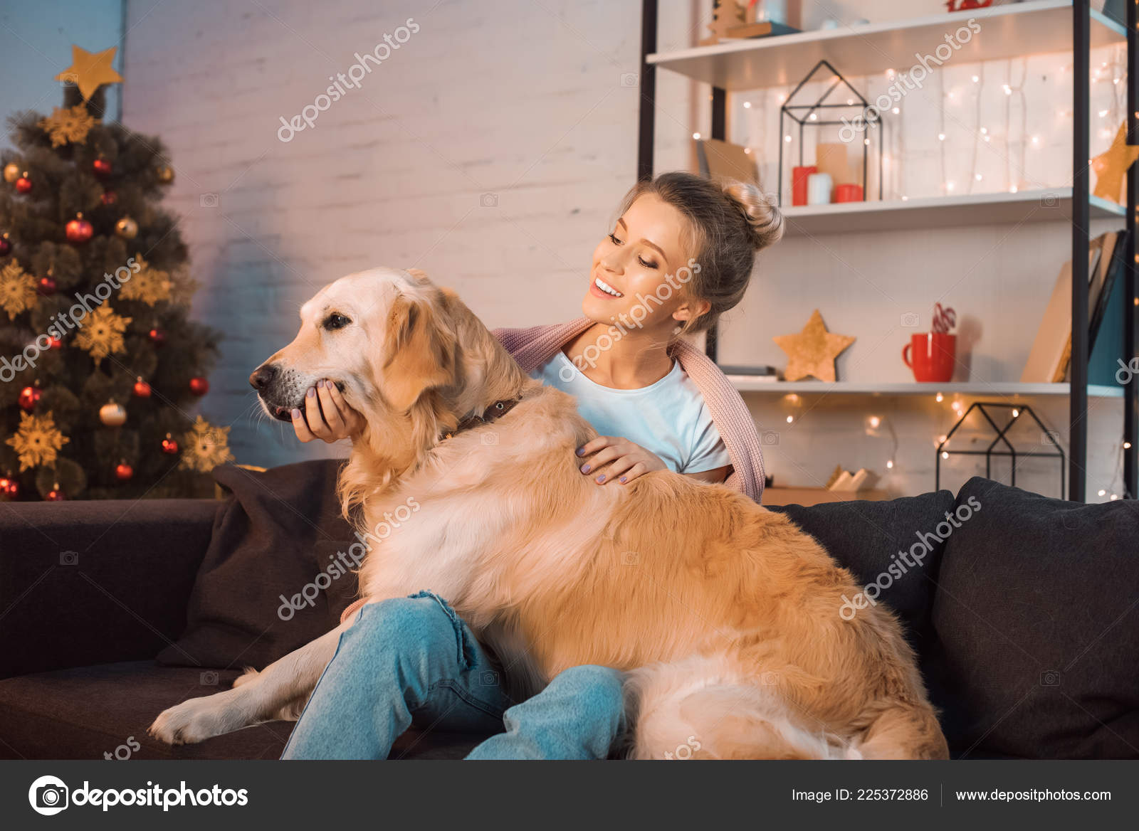 Beautiful Happy Young Blonde Woman Sitting Couch Hugging Golden