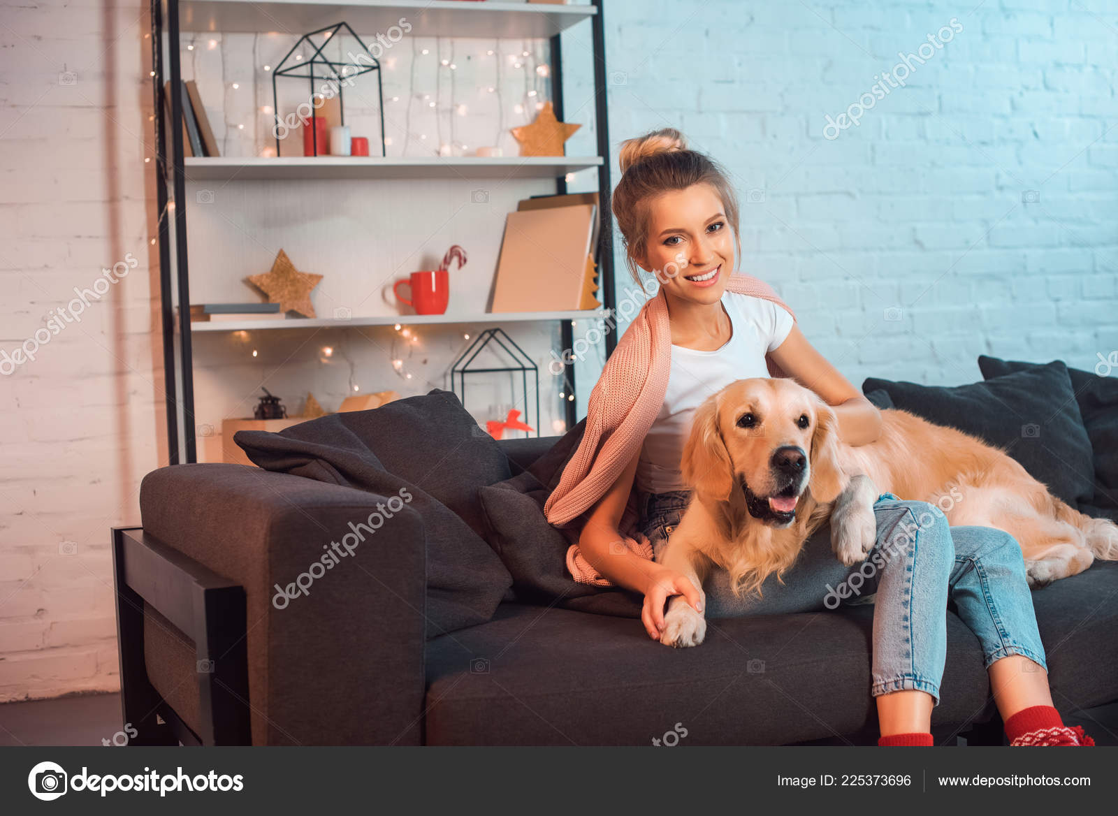 Beautiful Young Blonde Woman Sitting Couch Hugging Golden Retriever