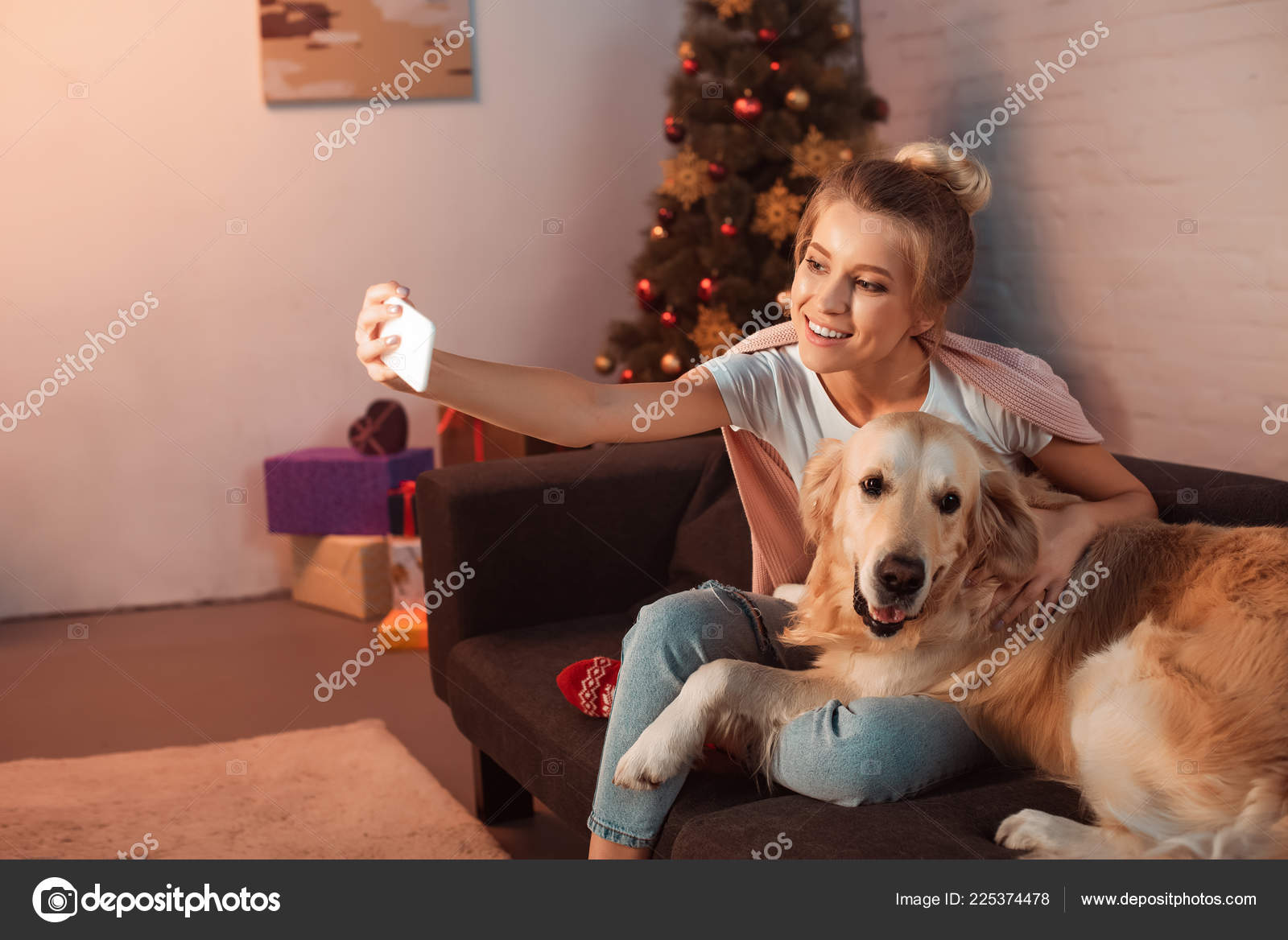 Beautiful Young Blonde Woman Sitting Couch Golden Retriever Dog