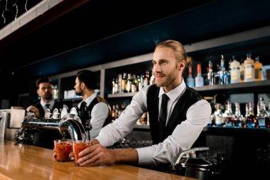 Handsome bartender serving drinks in glasses stock vector