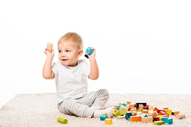 Adorable little boy playing with wooden blocks on carpet isolated on white stock vector