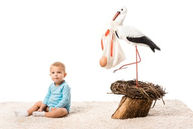 adorable toddler boy in blue bodysuit sitting on carpet near big decorative stork isolated on white