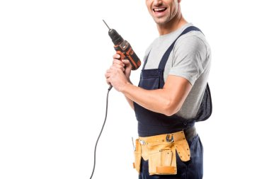 Partial view of worker with tool belt and drill isolated on white stock vector