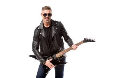 Handsome adult man in leather jacket holding electric guitar isolated on white stock vector