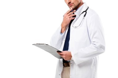 cropped view of pensive doctor holding diagnosis and touching chin isolated on white