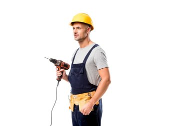 Construction worker in hard hat holding drill isolated on white stock vector