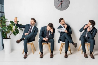 collage of young businessman with various poses and emotions waiting in queue