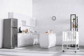 Fotografie moderní interiér bytu s bílým cihlové zdi