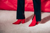 Photo partial view of woman posing in red high heeled shoes and black leather pants
