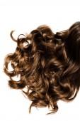 hosszú göndör barna haj női elszigetelt fehér vágott látképe