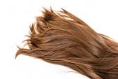 oříznutý pohled dlouhých hnědých vlasů izolované na bílém